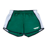 Ladies Dark Green/White Team Short-Solid Wordmark