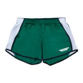 Ladies Dark Green/White Team Short-Solid Wordmark