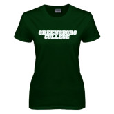 Ladies Dark Green T Shirt-Wordmark