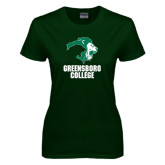 Ladies Dark Green T Shirt-Stacked Greensboro College