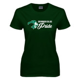 Ladies Dark Green T Shirt-Greensboro College Pride
