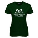 Ladies Dark Green T Shirt-Greensboro College