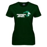 Ladies Dark Green T Shirt-Softball