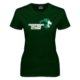 Ladies Dark Green T Shirt-Alumni