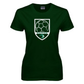 Ladies Dark Green T Shirt-Soccer Shield Design