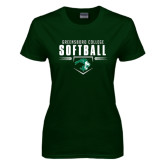 Ladies Dark Green T Shirt-Softball Design