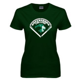 Ladies Dark Green T Shirt-Baseball Design