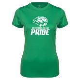 Ladies Syntrel Performance Kelly Green Tee-GC Pride Lions