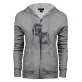 ENZA Ladies Grey Fleece Full Zip Hoodie-GC Graphite Glitter