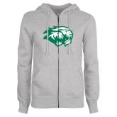 ENZA Ladies Grey Fleece Full Zip Hoodie-Lions
