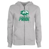 ENZA Ladies Grey Fleece Full Zip Hoodie-GC Pride Lions