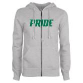 ENZA Ladies Grey Fleece Full Zip Hoodie-Pride