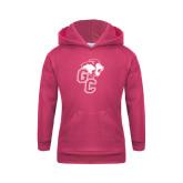 Youth Raspberry Fleece Hoodie-Official Logo