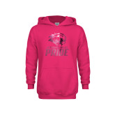Youth Raspberry Fleece Hoodie-GC Pride Lions Foil