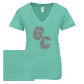 ENZA Ladies Seaglass Melange V Neck Tee-GC Silver Soft Glitter