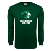 Dark Green Long Sleeve T Shirt-Stacked Greensboro College
