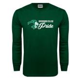 Dark Green Long Sleeve T Shirt-Greensboro College Pride