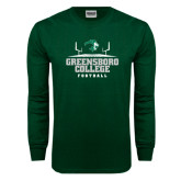 Dark Green Long Sleeve T Shirt-Football Field Design