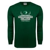 Dark Green Long Sleeve T Shirt-Football Field Design