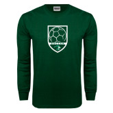 Dark Green Long Sleeve T Shirt-Soccer Shield Design
