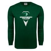 Dark Green Long Sleeve T Shirt-Lacrosse Design