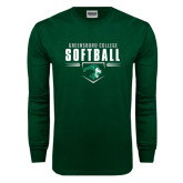 Dark Green Long Sleeve T Shirt-Softball Design