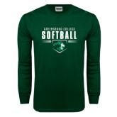 Dark Green Long Sleeve T Shirt-Softball Design