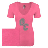 Next Level Ladies Vintage Pink Tri Blend V-Neck Tee-GC Silver Soft Glitter