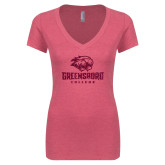Next Level Ladies Vintage Pink Tri Blend V Neck Tee-M Hot Pink Glitter