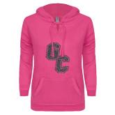 ENZA Ladies Hot Pink V Notch Raw Edge Fleece Hoodie-GC Graphite Glitter