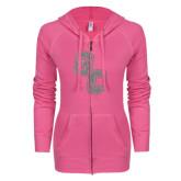 ENZA Ladies Hot Pink Light Weight Fleece Full Zip Hoodie-GC Silver Soft Glitter