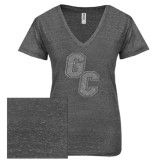 ENZA Ladies Graphite Melange V Neck Tee-GC Silver Soft Glitter