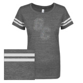 ENZA Ladies Dark Heather/White Vintage Triblend Football Tee-GC Silver Soft Glitter