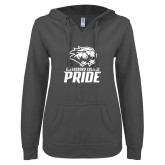 ENZA Ladies Dark Heather V Notch Raw Edge Fleece Hoodie-GC Pride Lions