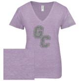 ENZA Ladies Violet Melange V Neck Tee-GC Silver Soft Glitter
