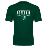 Performance Dark Green Tee-Softball Design