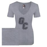 Next Level Ladies Vintage Heather Tri Blend V Neck Tee-GC Graphite Glitter