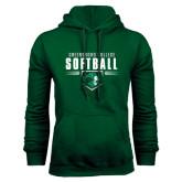 Dark Green Fleece Hood-Softball Design