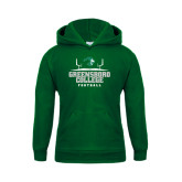 Youth Dark Green Fleece Hoodie-Football Field Design