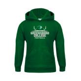 Youth Dark Green Fleece Hoodie-Football Field Design
