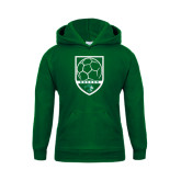 Youth Dark Green Fleece Hoodie-Soccer Shield Design