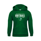 Youth Dark Green Fleece Hoodie-Softball Design