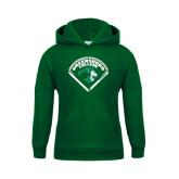 Youth Dark Green Fleece Hoodie-Baseball Design