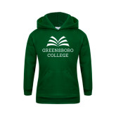 Youth Dark Green Fleece Hoodie-Greensboro College