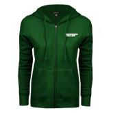 ENZA Ladies Dark Green Fleece Full Zip Hoodie-Solid Wordmark