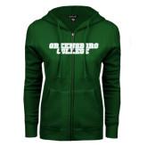 ENZA Ladies Dark Green Fleece Full Zip Hoodie-Wordmark
