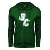 ENZA Ladies Dark Green Fleece Full Zip Hoodie-GC
