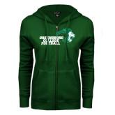 ENZA Ladies Dark Green Fleece Full Zip Hoodie-Football