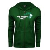 ENZA Ladies Dark Green Fleece Full Zip Hoodie-Nana