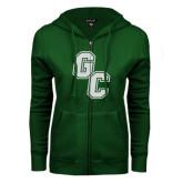 ENZA Ladies Dark Green Fleece Full Zip Hoodie-GC White Soft Glitter